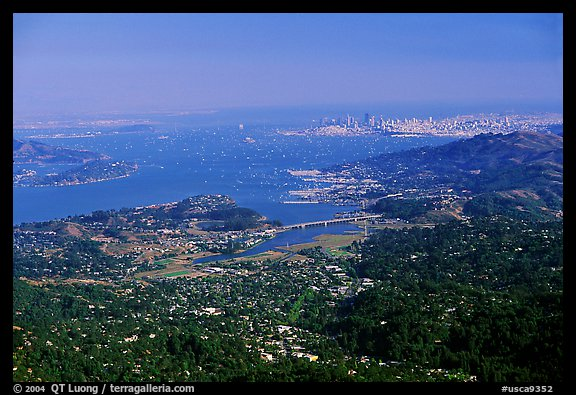 San Francisco and the Bay Area seen from Mt Tamalpais. California, USA (color)