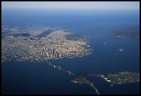 Aerial view of the Bay Bridge, the city, and  the Golden Gate Bridge. San Francisco, California, USA ( color)