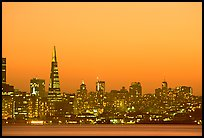 Skyline at sunset with the Transamerica Pyramid. San Francisco, California, USA ( color)