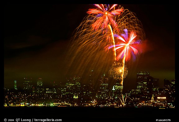 fourth of July fireworks above the City. San Francisco, California, USA (color)