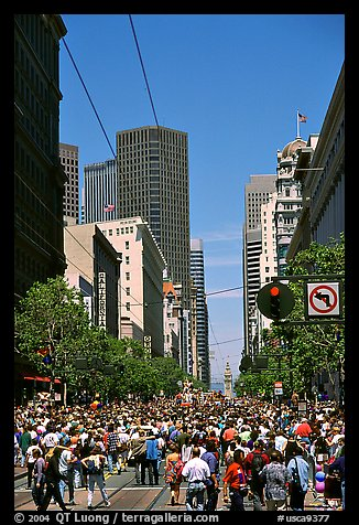 Crowds on Market Avenue during the Gay Parade. San Francisco, California, USA (color)