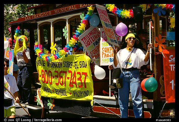 Cable car  during the Gay Parade. San Francisco, California, USA (color)