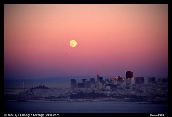 Moonrise over the city. San Francisco, California, USA (color)