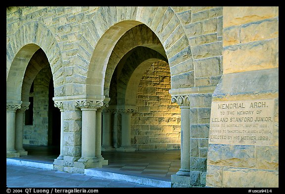 Arches of Main Quad. Stanford University, California, USA (color)