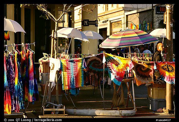 Colorful Tye die T-shirts for sale on Telegraph Avenue. Berkeley, California, USA (color)
