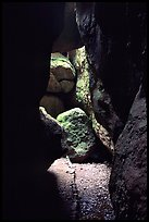 Rocks and trail in Bear Gulch Caves. Pinnacles National Park, California, USA.