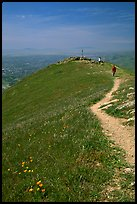 Hiker on trail at the summit of Mission Peak, Mission Peak Regional Park. California, USA