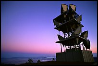 Microwave communication relay at dusk,  Mt Diablo State Park. California, USA (color)