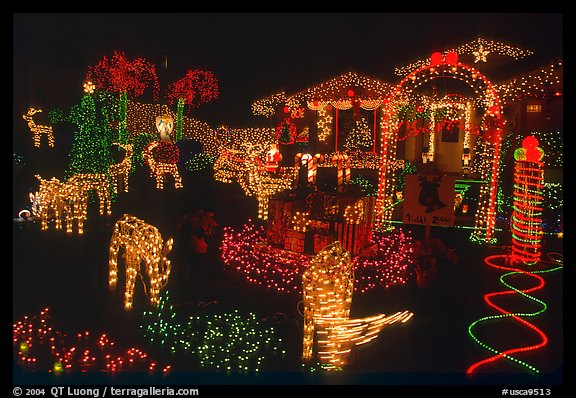House Christmas Lights. San Jose, California, USA (color)