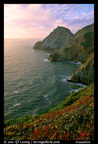 Coastline near Devil's slide, sunset. San Mateo County, California, USA (color)