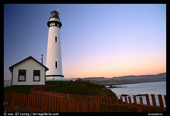 Pigeon Point Lighthouse, dusk. San Mateo County, California, USA (color)