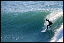 Surfer, morning. Santa Cruz, California, USA (color)