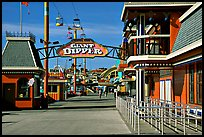 Boardwalk amusement park, morning. Santa Cruz, California, USA (color)