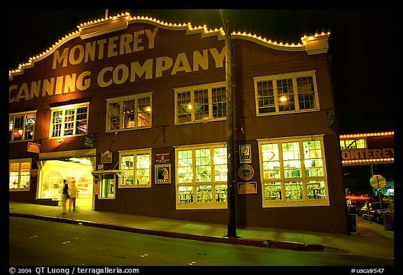 Cannery Row building at night, Monterey. Monterey, California, USA (color)