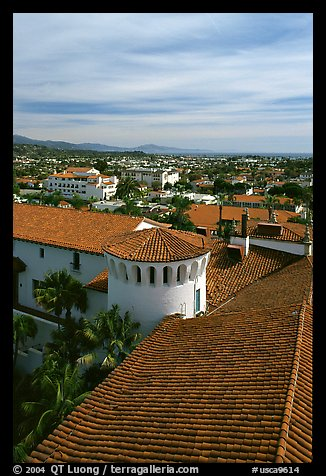 Rooftop of the courthouse with red tiles. Santa Barbara, California, USA (color)