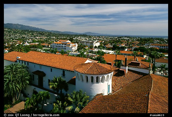 Red tile rooftops of the courthouse. Santa Barbara, California, USA (color)