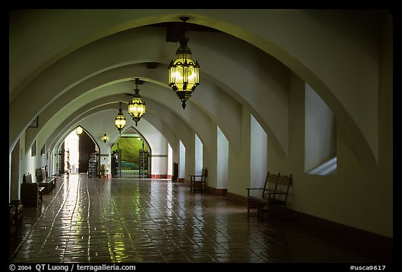 Corridors of the courthouse. Santa Barbara, California, USA (color)
