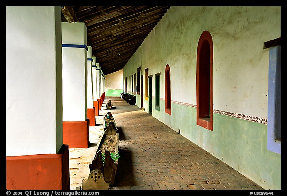 Cloister, Mission San Miguel Arcangel. California, USA (color)