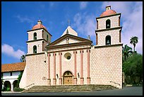 Chapel facade, Mission Santa Barbara, morning. Santa Barbara, California, USA