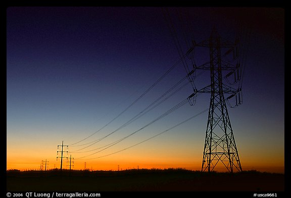 Power lines at sunset, San Joaquin Valley. California, USA (color)