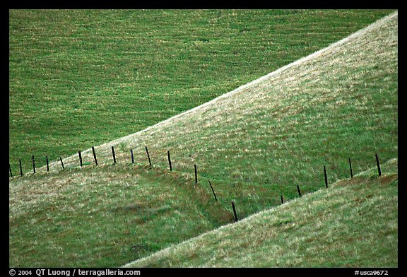Fence on hill, Southern Sierra Foothills. California, USA (color)