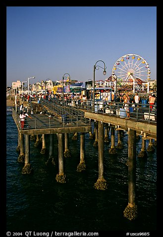 Pier and Ferris Wheel, late afternoon. Santa Monica, Los Angeles, California, USA (color)