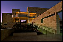 Getty Museum at dusk, Brentwood. Los Angeles, California, USA ( color)