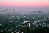 Los Angeles skyline seen from Brentwood at dusk. Los Angeles, California, USA