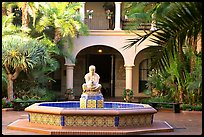 Courtyard with fountain, Balboa Park. San Diego, California, USA (color)