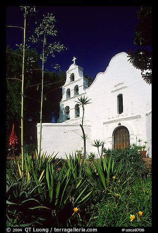 Agaves and front of Mission San Diego de Alcala. San Diego, California, USA (color)
