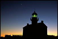 Old Point Loma Lighthouse, dusk. San Diego, California, USA (color)
