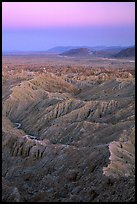 Badlands at dusk, Font Point. Anza Borrego Desert State Park, California, USA