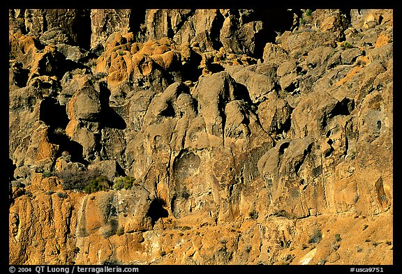 Cliff of volcanic rock, Hole-in-the-wall. Mojave National Preserve, California, USA (color)