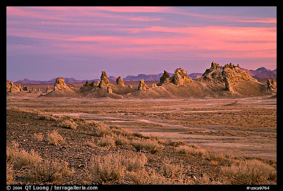 Tufa spires, Trona Pinnacles, sunset. California, USA (color)