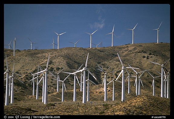 Electricity-generating Windmills, Horned Toad Hills near Mojave. California, USA (color)