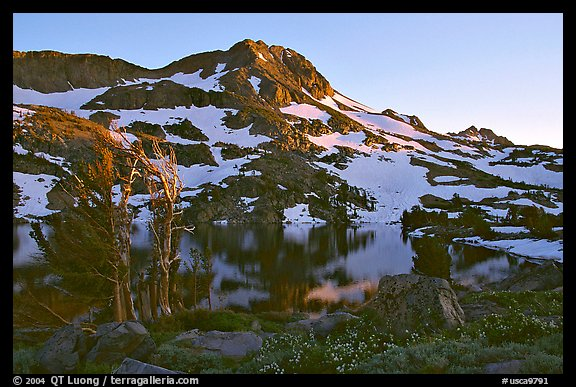 Round Top Peak and Winnemucca Lake, sunset. Mokelumne Wilderness, Eldorado National Forest, California, USA (color)