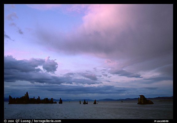 Lake and tufa at sunset. Mono Lake, California, USA (color)
