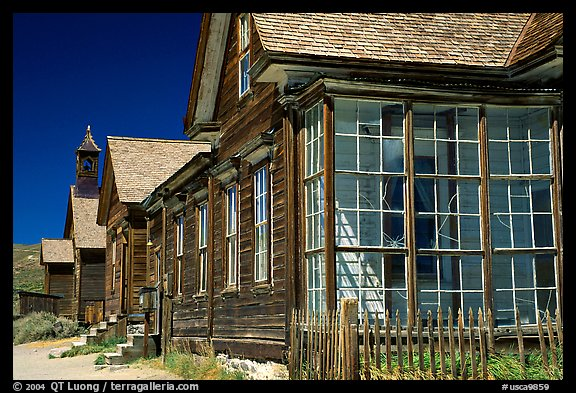 Main street row, Ghost Town, Bodie State Park. California, USA (color)