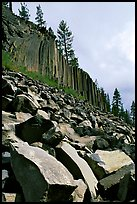 Blocks and columns of basalt, Devils Postpile National Monument. California, USA ( color)