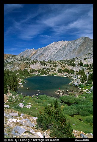 Fishing in small mountain lake, Inyo National Forest. California, USA (color)