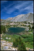 Fishing in small mountain lake, Inyo National Forest. California, USA