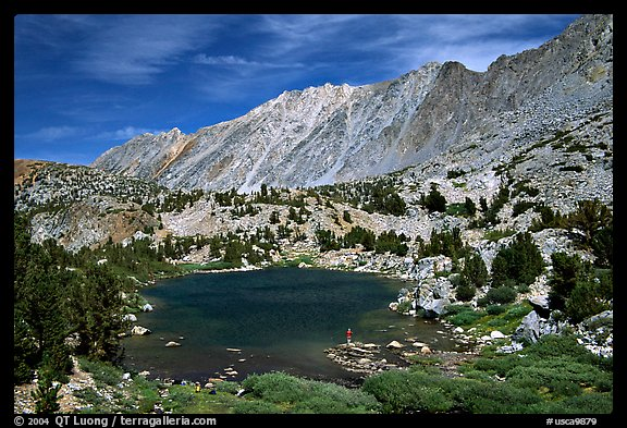 Small Lake, mountain, and fisherman, Inyo National Forest. California, USA (color)