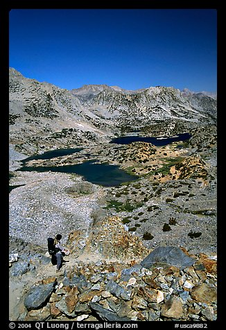 Chain of lakes seen from Bishop Pass, Inyo National Forest. California, USA (color)