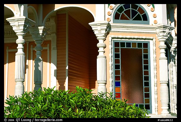 Detail of Victorian architecture of the Pink Lady,  Eureka. California, USA (color)