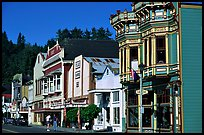 Row of Victorian Houses, Ferndale. California, USA ( color)