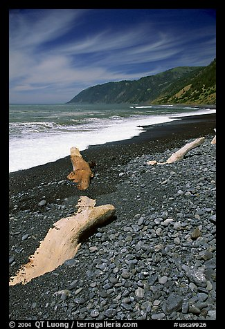 Black sand beach, Lost Coast. California, USA (color)