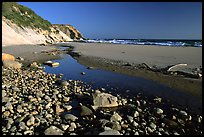 Pebbles, pool, and beach near Fort Bragg. Fort Bragg, California, USA