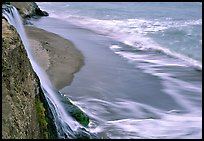 Alamere Falls, beach, and surf. Point Reyes National Seashore, California, USA
