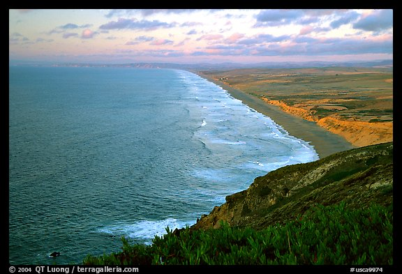 Point Reyes Beach, sunset. Point Reyes National Seashore, California, USA (color)