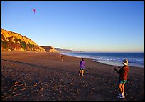 Flying a kite at Santa Maria Beach, late afternoon. Point Reyes National Seashore, California, USA (color)